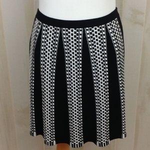 Spense A-Line Sweater Skirt Checkered Stripe Sz. L